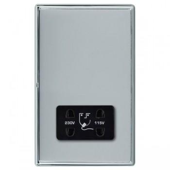 Hamilton Linea-Rondo CFX Bright Chrome/Bright Steel Shaver Socket Dual Voltage with Black Insert