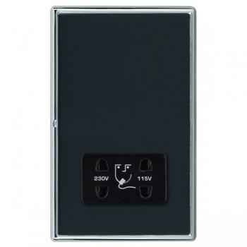 Hamilton Linea-Rondo CFX Bright Chrome/Piano Black Shaver Socket Dual Voltage with Black Insert