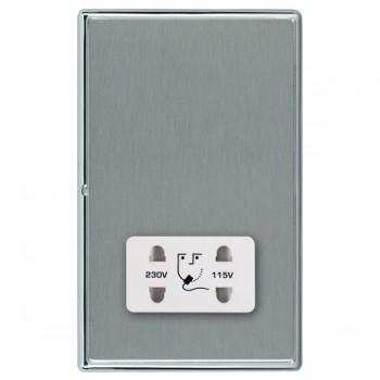 Hamilton Linea-Rondo CFX Bright Chrome/Satin Steel Shaver Socket Dual Voltage with White Insert