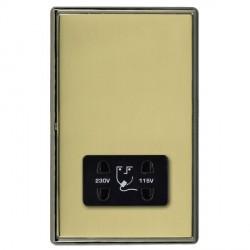 Hamilton Linea-Rondo CFX Black Nickel/Polished Brass Shaver Socket Dual Voltage with Black Insert