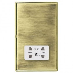Hamilton Linea-Rondo CFX Polished Brass/Antique Brass Shaver Socket Dual Voltage with White Insert
