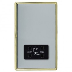 Hamilton Linea-Rondo CFX Polished Brass/Bright Steel Shaver Socket Dual Voltage with Black Insert