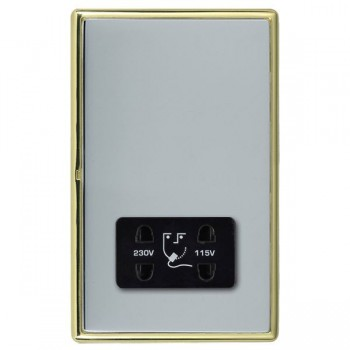 Hamilton Linea-Rondo CFX Polished Brass/Bright Steel Shaver Socket Dual Voltage with Black Insert
