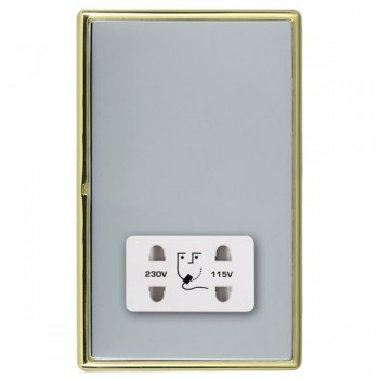Hamilton Linea-Rondo CFX Polished Brass/Bright Steel Shaver Socket Dual Voltage with White Insert