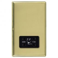 Hamilton Linea-Rondo CFX Polished Brass/Polished Brass Shaver Socket Dual Voltage with Black Insert