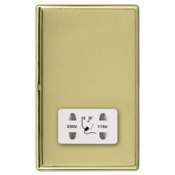 Hamilton Linea-Rondo CFX Polished Brass/Polished Brass Shaver Socket Dual Voltage with White Insert