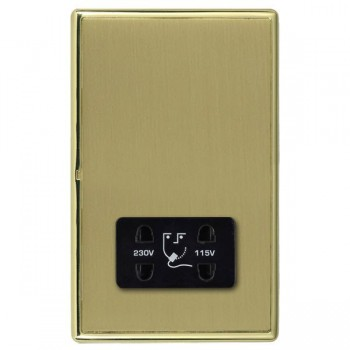 Hamilton Linea-Rondo CFX Polished Brass/Satin Brass Shaver Socket Dual Voltage with Black Insert