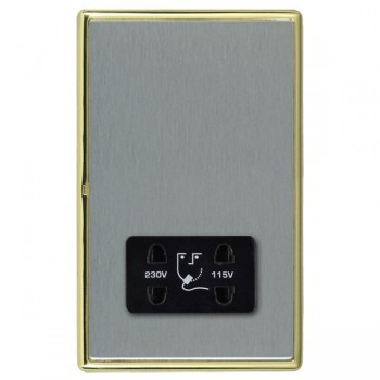 Hamilton Linea-Rondo CFX Polished Brass/Satin Steel Shaver Socket Dual Voltage with Black Insert