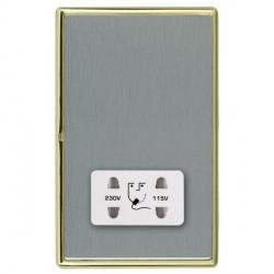Hamilton Linea-Rondo CFX Polished Brass/Satin Steel Shaver Socket Dual Voltage with White Insert