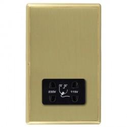 Hamilton Linea-Rondo CFX Satin Brass/Satin Brass Shaver Socket Dual Voltage with Black Insert