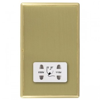 Hamilton Linea-Rondo CFX Satin Brass/Satin Brass Shaver Socket Dual Voltage with White Insert