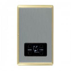 Hamilton Linea-Rondo CFX Satin Brass/Satin Steel Shaver Socket Dual Voltage with Black Insert