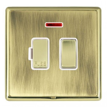 Hamilton Linea-Rondo CFX Polished Brass/Antique Brass 1 Gang 13A Fused Spur, Double Pole + Neon with White Insert