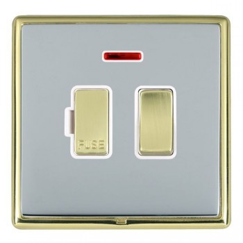 Hamilton Linea-Rondo CFX Polished Brass/Bright Steel 1 Gang 13A Fused Spur, Double Pole + Neon with White Insert