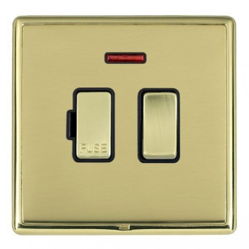 Hamilton Linea-Rondo CFX Polished Brass/Polished Brass 1 Gang 13A Fused Spur, Double Pole + Neon with Black Insert