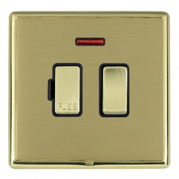 Hamilton Linea-Rondo CFX Polished Brass/Satin Brass 1 Gang 13A Fused Spur, Double Pole + Neon with Black Insert