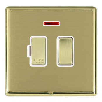 Hamilton Linea-Rondo CFX Polished Brass/Satin Brass 1 Gang 13A Fused Spur, Double Pole + Neon with White Insert