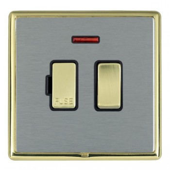 Hamilton Linea-Rondo CFX Polished Brass/Satin Steel 1 Gang 13A Fused Spur, Double Pole + Neon with Black Insert
