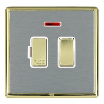 Hamilton Linea-Rondo CFX Polished Brass/Satin Steel 1 Gang 13A Fused Spur, Double Pole + Neon with White Insert