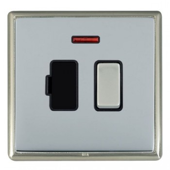 Hamilton Linea-Rondo CFX Satin Nickel/Bright Steel 1 Gang 13A Fused Spur, Double Pole + Neon with Black Insert