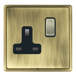 Hamilton Linea-Rondo CFX Antique Brass/Antique Brass 1 Gang 13A Switched Socket - Double Pole with Black Insert