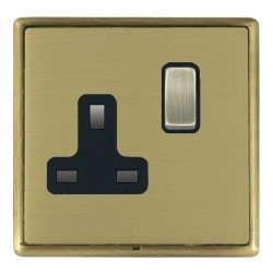 Hamilton Linea-Rondo CFX Antique Brass/Satin Brass 1 Gang 13A Switched Socket - Double Pole with Black Insert