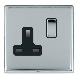 Hamilton Linea-Rondo CFX Bright Chrome/Bright Chrome 1 Gang 13A Switched Socket - Double Pole with Black Insert