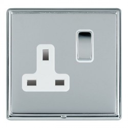Hamilton Linea-Rondo CFX Bright Chrome/Bright Chrome 1 Gang 13A Switched Socket - Double Pole with White ...