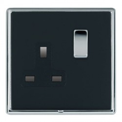 Hamilton Linea-Rondo CFX Bright Chrome/Piano Black 1 Gang 13A Switched Socket - Double Pole with Black Insert