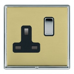 Hamilton Linea-Rondo CFX Bright Chrome/Polished Brass 1 Gang 13A Switched Socket - Double Pole with Black Insert