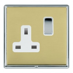Hamilton Linea-Rondo CFX Bright Chrome/Polished Brass 1 Gang 13A Switched Socket - Double Pole with White Insert