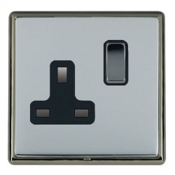 Hamilton Linea-Rondo CFX Black Nickel/Bright Steel 1 Gang 13A Switched Socket - Double Pole with Black Insert
