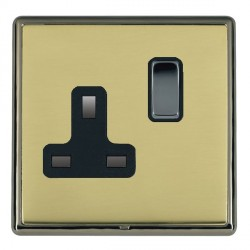Hamilton Linea-Rondo CFX Black Nickel/Polished Brass 1 Gang 13A Switched Socket - Double Pole with Black Insert