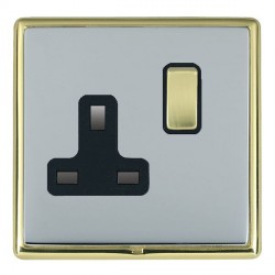 Hamilton Linea-Rondo CFX Polished Brass/Bright Steel 1 Gang 13A Switched Socket - Double Pole with Black Insert