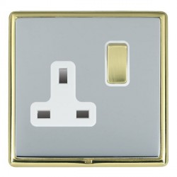 Hamilton Linea-Rondo CFX Polished Brass/Bright Steel 1 Gang 13A Switched Socket - Double Pole with White Insert