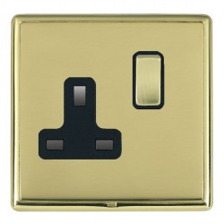 Hamilton Linea-Rondo CFX Polished Brass/Polished Brass 1 Gang 13A Switched Socket - Double Pole with Black Insert