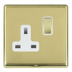 Hamilton Linea-Rondo CFX Polished Brass/Polished Brass 1 Gang 13A Switched Socket - Double Pole with White Insert
