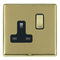 Hamilton Linea-Rondo CFX Polished Brass/Satin Brass 1 Gang 13A Switched Socket - Double Pole with Black Insert