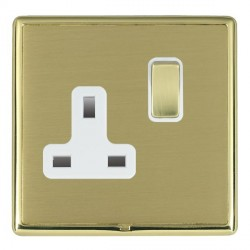 Hamilton Linea-Rondo CFX Polished Brass/Satin Brass 1 Gang 13A Switched Socket - Double Pole with White Insert
