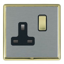Hamilton Linea-Rondo CFX Polished Brass/Satin Steel 1 Gang 13A Switched Socket - Double Pole with Black Insert
