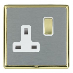 Hamilton Linea-Rondo CFX Polished Brass/Satin Steel 1 Gang 13A Switched Socket - Double Pole with White Insert