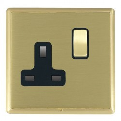 Hamilton Linea-Rondo CFX Satin Brass/Satin Brass 1 Gang 13A Switched Socket - Double Pole with Black Insert