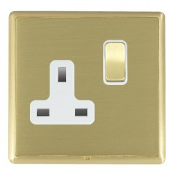 Hamilton Linea-Rondo CFX Satin Brass/Satin Brass 1 Gang 13A Switched Socket - Double Pole with White Insert