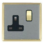Hamilton Linea-Rondo CFX Satin Brass/Satin Steel 1 Gang 13A Switched Socket - Double Pole with Black Insert