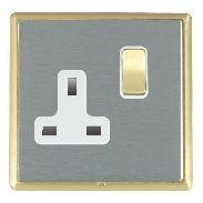 Hamilton Linea-Rondo CFX Satin Brass/Satin Steel 1 Gang 13A Switched Socket - Double Pole with White Insert