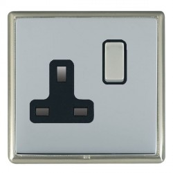 Hamilton Linea-Rondo CFX Satin Nickel/Bright Steel 1 Gang 13A Switched Socket - Double Pole with Black Insert