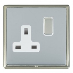 Hamilton Linea-Rondo CFX Satin Nickel/Bright Steel 1 Gang 13A Switched Socket - Double Pole with White Insert