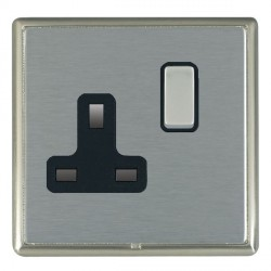 Hamilton Linea-Rondo CFX Satin Nickel/Satin Steel 1 Gang 13A Switched Socket - Double Pole with Black Insert