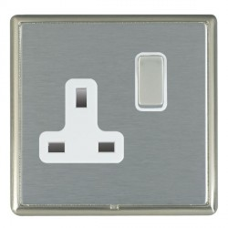 Hamilton Linea-Rondo CFX Satin Nickel/Satin Steel 1 Gang 13A Switched Socket - Double Pole with White Insert