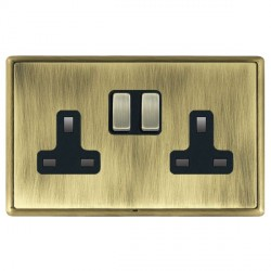 Hamilton Linea-Rondo CFX Antique Brass/Antique Brass 2 Gang 13A Switched Socket - Double Pole with Black Insert